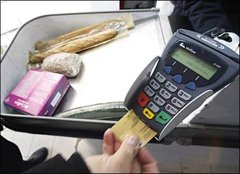 A credit card reading machine